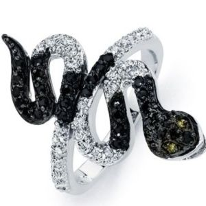 Jewelry - Black Rhodium Plated Clear and Black CZ Snake Ring